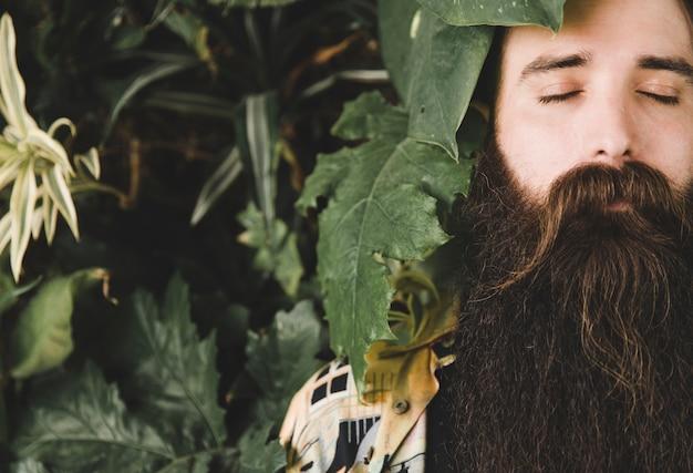 Close-up van de bladeren van de plant in de buurt van het gezicht van de man met gesloten ogen en lange baard Gratis Foto