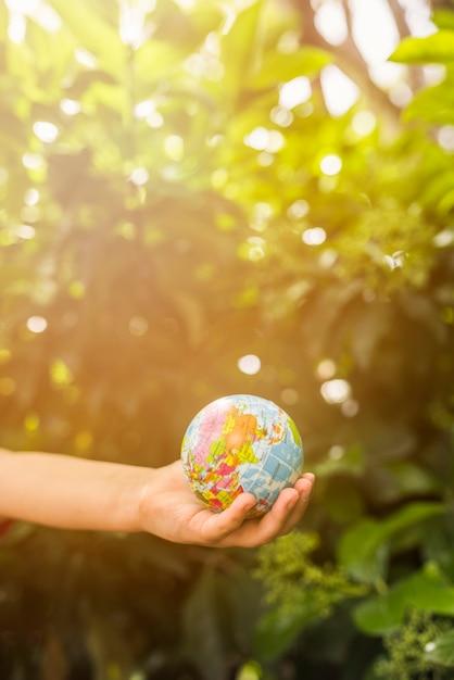 Close-up van de bol van de de holdingsbol van de kindhand voor groene installatie in het zonlicht Gratis Foto