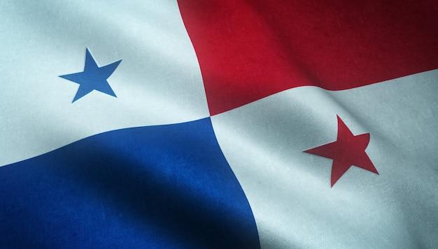 Close-up van de wapperende vlag van panama met grungy texturen Gratis Foto