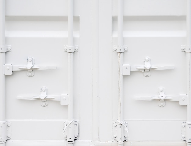 Close-up van de witte containerdoos. Premium Foto