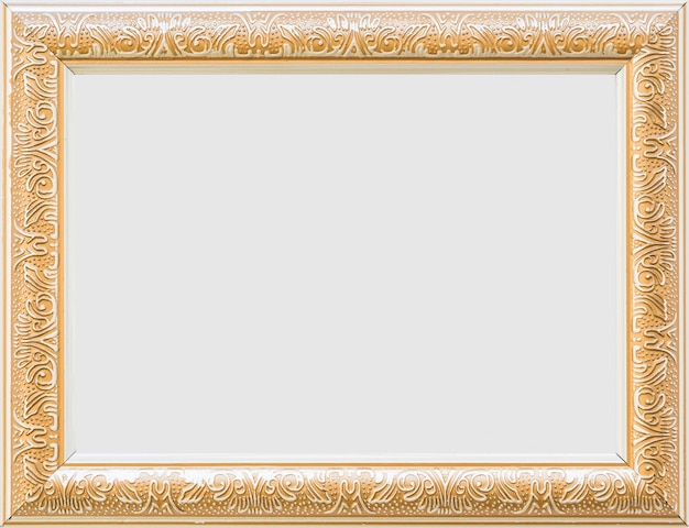 Close-up van een gouden leeg wit frame Premium Foto