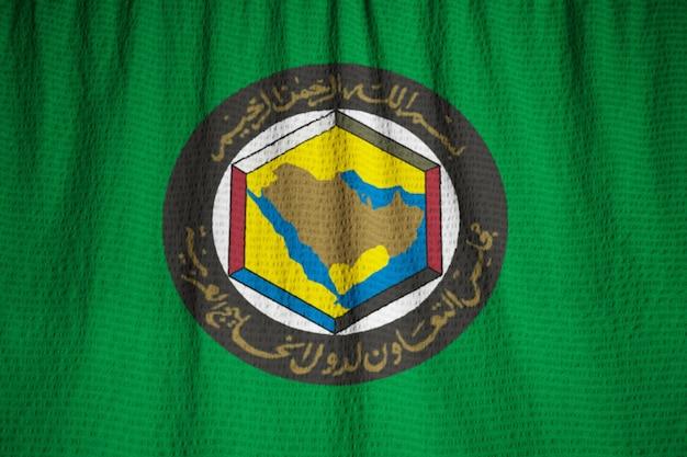 Close-up van gegolfde gulf cooperation council vlag, gcc vlag waait in de wind Premium Foto