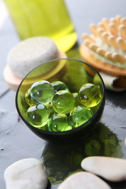 Close-up van groene badparels Premium Foto
