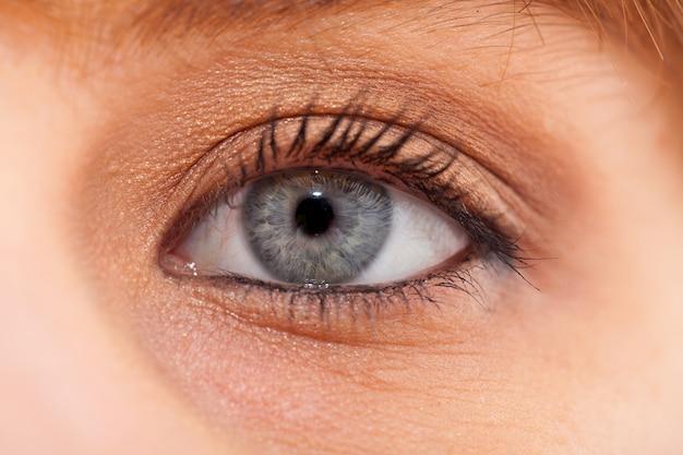 Close-up van jong vrouwen blauw oog met dagmake-up Premium Foto