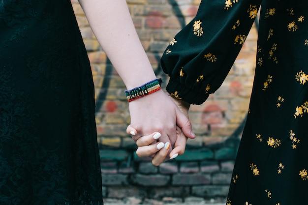 Close-up van twee vrouwelijke handen van de lgbt vrolijke paarholding Premium Foto