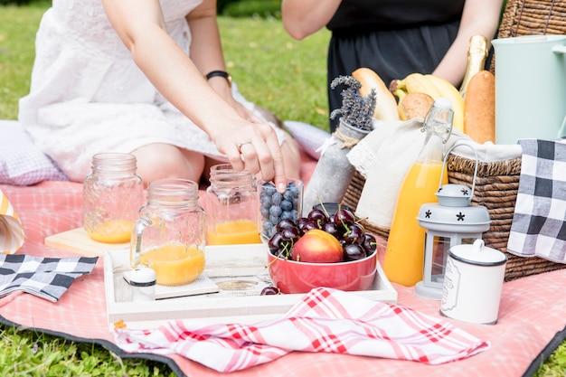 Close-up van twee vrouwelijke vrienden die van de snack op picknick genieten Gratis Foto