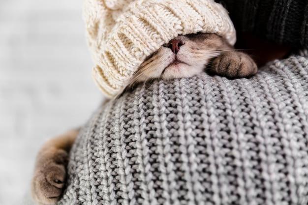 Close-up winter kleding dragen Gratis Foto