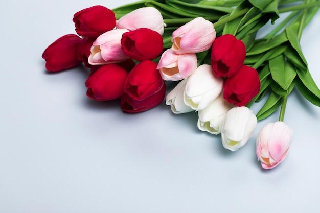 Close-upboeket van tulpen Gratis Foto