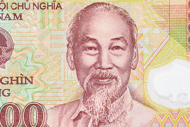 Close-upportret van ho chi minh op het vietnamese bankbiljet, het papiergeld van vietnam Premium Foto