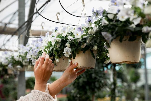 Close-upvrouw die bloempotten schikken Gratis Foto