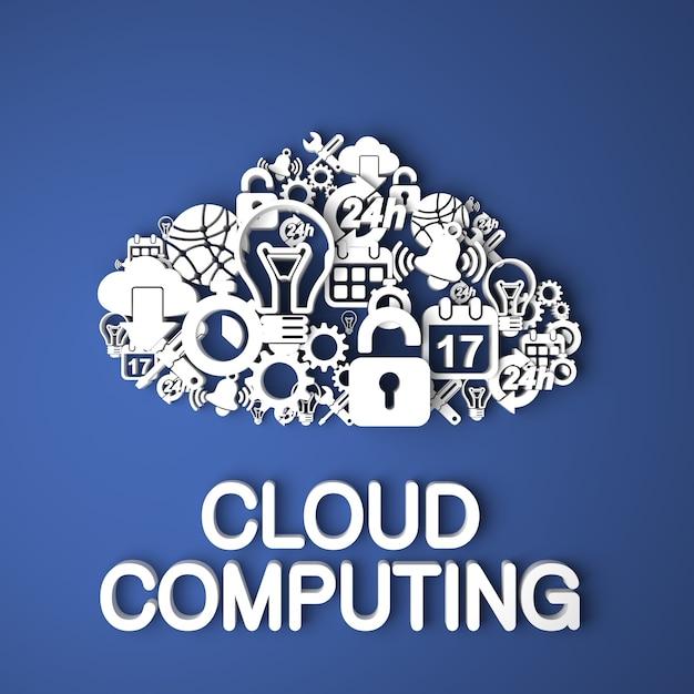 Cloud computing-kaart handgemaakt van papieren tekens op blauwe achtergrond Premium Foto
