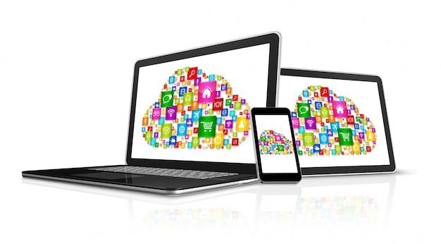 Cloud computing symbool in elektronische apparaten Premium Foto