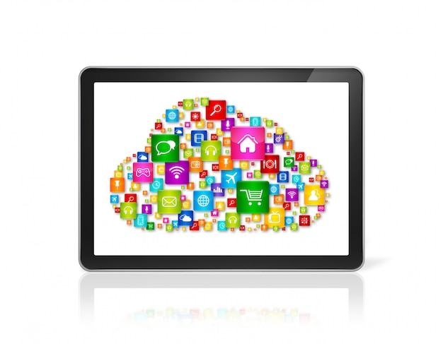 Cloud computing symbool in tablet pc-computer Premium Foto