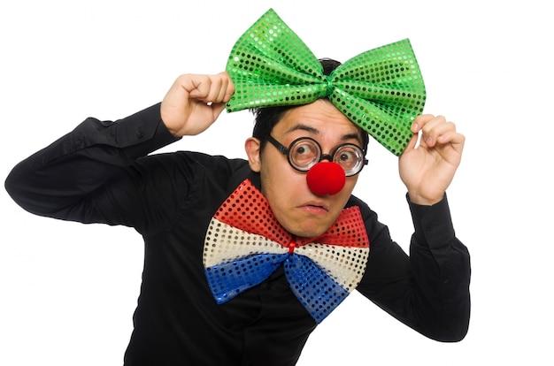 Clown op de witte achtergrond wordt geïsoleerd die Premium Foto