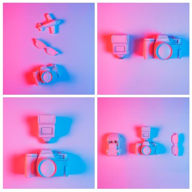 Collage van camera met voertuigen en oogglazen tegen roze achtergrond Gratis Foto