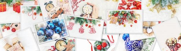 Collage van kerstafbeeldingen. feestdagen en evenementen. Premium Foto