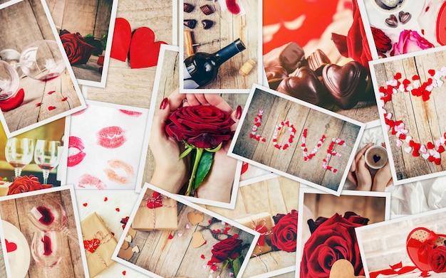 Collage van liefde en romantiek. selectieve aandacht. Premium Foto