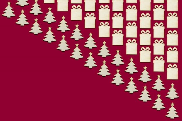 Collage van veel houten kerstboom en huidige beeldjes Premium Foto