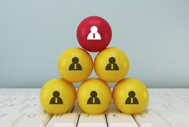 Concept creatief idee van human resource management en recruitment business team concept, koppelen entiteiten, hiërarchie en hr Premium Foto
