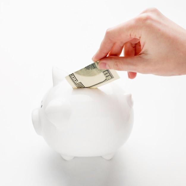 Concept economie met spaarvarken en bankbiljet hoge mening Gratis Foto