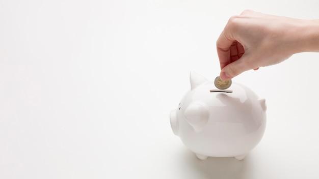 Concept economie met spaarvarken en geld Gratis Foto