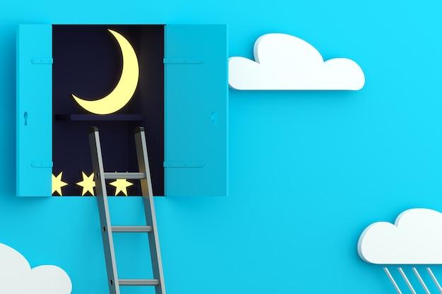 Concept muur met locker nacht dag wolken. Premium Foto