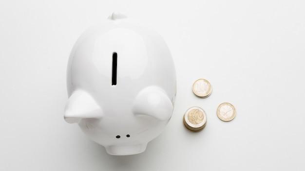 Concept van economie met spaarvarken plat lag Gratis Foto