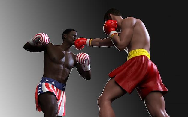 Concept van handelsoorlog tussen de vs en china. 3d-afbeelding twee bokser vechten vs en china vlag handel stoten voor het concept: trade war. Premium Foto