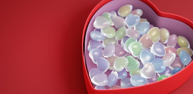 Concept voor valentijnsdag. doos met veelkleurige harten. kopieer ruimte. 3d-afbeelding. 3d render. Premium Foto