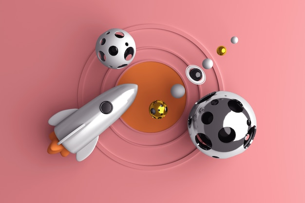 Conceptueel beeld van een raket die in ruimte vliegt Premium Foto