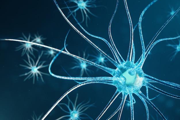 Conceptuele illustratie van neuroncellen met gloeiende koppelingsknopen. neuronen in de hersenen met focuseffect. synaps- en neuroncellen die elektrische chemische signalen verzenden. 3d-afbeelding Premium Foto
