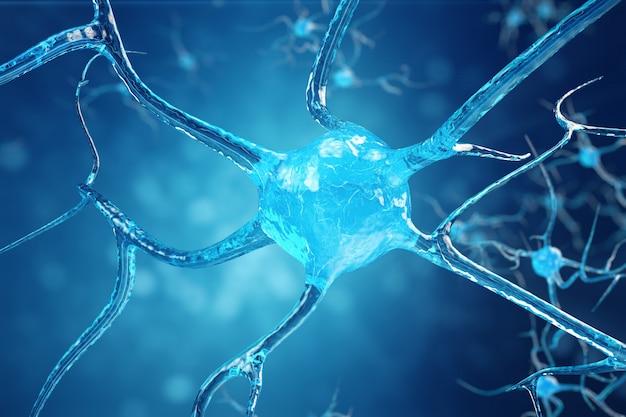 Conceptuele illustratie van neuroncellen met gloeiende koppelingsknopen. synaps- en neuroncellen die elektrische chemische signalen verzenden. neuron van onderling verbonden neuronen met elektrische pulsen. 3d-afbeelding Premium Foto