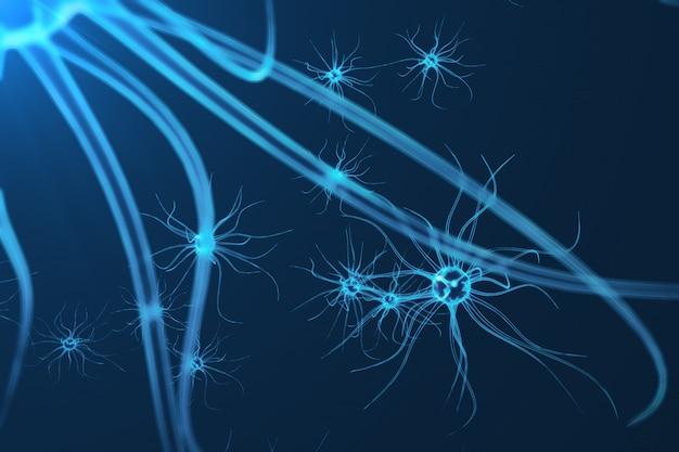 Conceptuele illustratie van neuroncellen met gloeiende koppelingsknopen. synaps- en neuroncellen die elektrische chemische signalen verzenden. neuron van onderling verbonden neuronen met elektrische pulsen, 3d-rendering Premium Foto