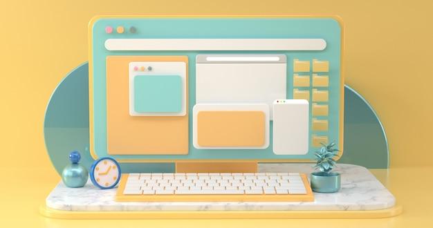 Conceptuele werkruimten van online sociale communicatie met eenvoudige ontwerpobjecten. 3d-rendering. Premium Foto