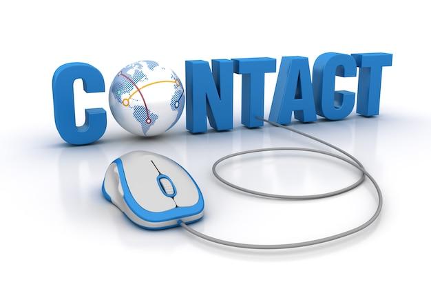 Contact 3d word met globe world en computermuis Premium Foto