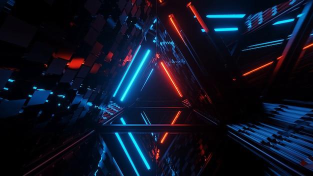 Cool geometrische driehoekige figuur in een neon laserlicht - ideaal voor achtergronden en wallpapers Gratis Foto
