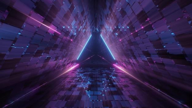 Cool geometrische driehoekige figuur in een neon laserlicht - ideaal voor achtergronden Gratis Foto