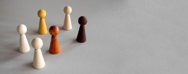 Copy-space houten schaakstukken Gratis Foto