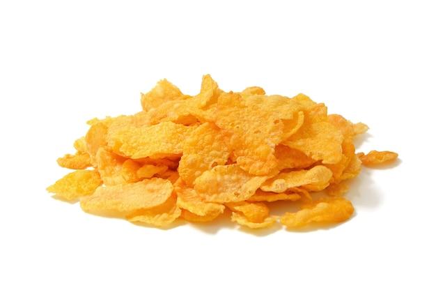 Cornflakes, graangewas op wit wordt geïsoleerd dat Premium Foto