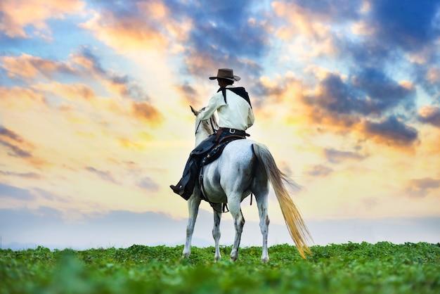 Cowboy te paard. boerderij Premium Foto