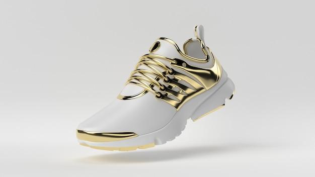Creatief, minimaal luxe productidee. concepten witte en gouden schoen met witte achtergrond. Premium Foto