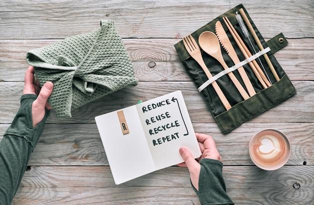 Creatief platliggend, afvalloos lunchconcept met herbruikbaar houten bestek, lunchbox in katoenen doek en herbruikbaar koffiekopje. duurzame levensstijl, tekst