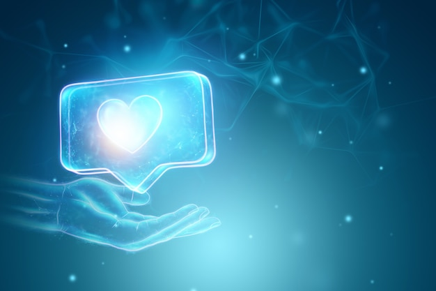 Creatieve achtergrond, hand met als teken hologram op blauwe achtergrond. sociaal netwerk concept. 3d-rendering, 3d-afbeelding. Premium Foto