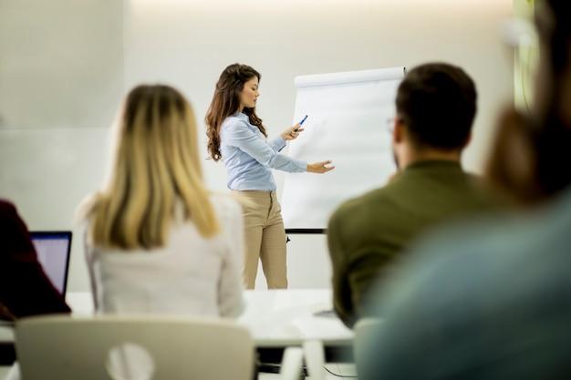 Creatieve positieve vrouwelijke leider die over businessplan met studenten tijdens workshop spreekt Premium Foto