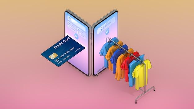 Creditcard en kleding op een hanger verschenen op het scherm van smartphones., online winkelen of shopaholic-concept. Premium Foto