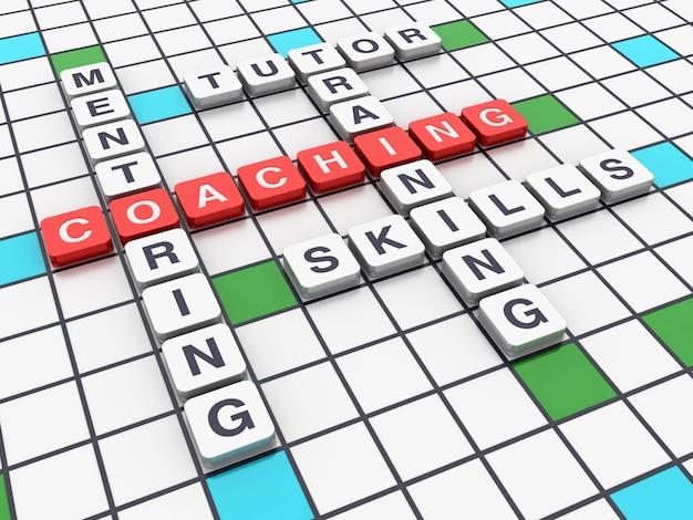 Crossword coaching concepten Premium Foto