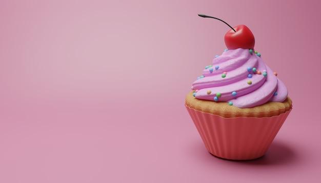 Cupcake met aardbeienbovenste laagje en kers Premium Foto