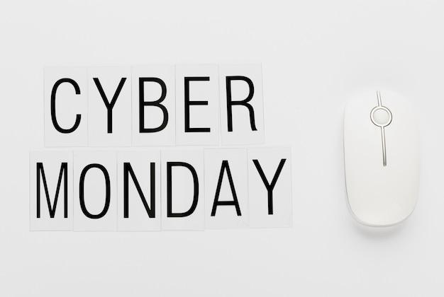 Cyber maandag bericht met witte muis Gratis Foto