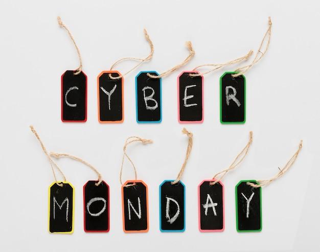 Cyber maandag bericht op tags letters Gratis Foto