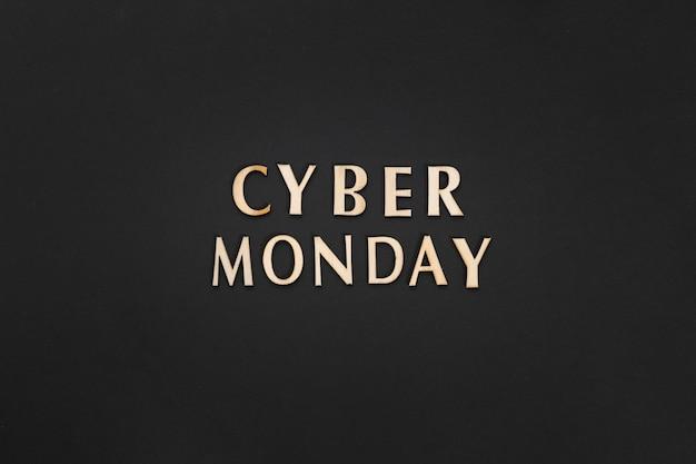 Cyber maandag tekst op effen achtergrond Gratis Foto